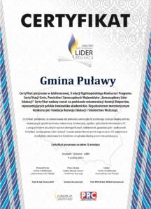 Certyfikat Samorządowy Lider Edukacji 2020 2021